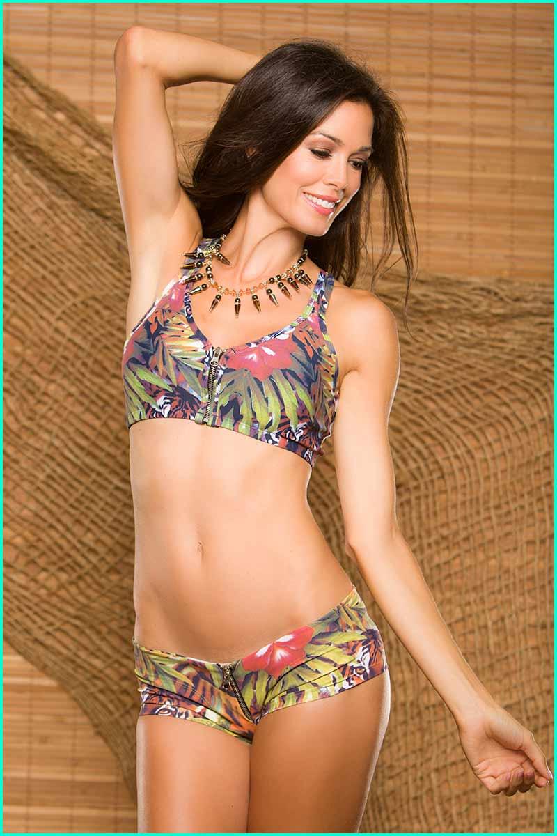 Body Brazil Hidden Tiger Zipper Shorts