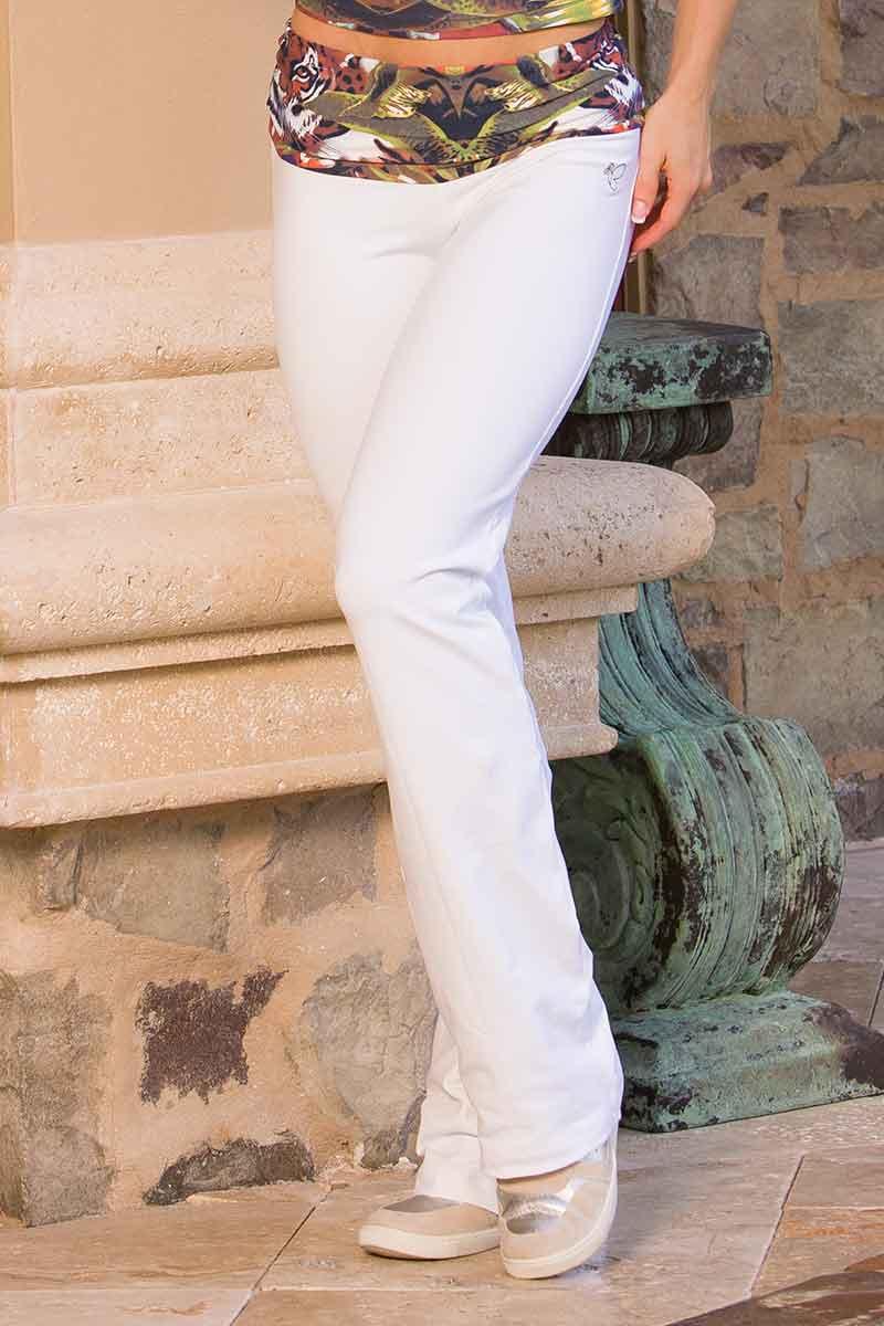 Body Brazil White Hidden Tiger Fold Over Pants (Reg& Tall)