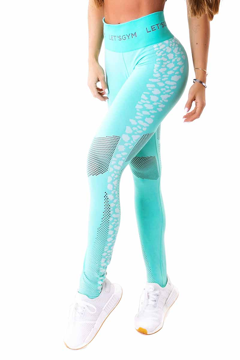 Let's Gym Aqua Leopard Seamless Legging