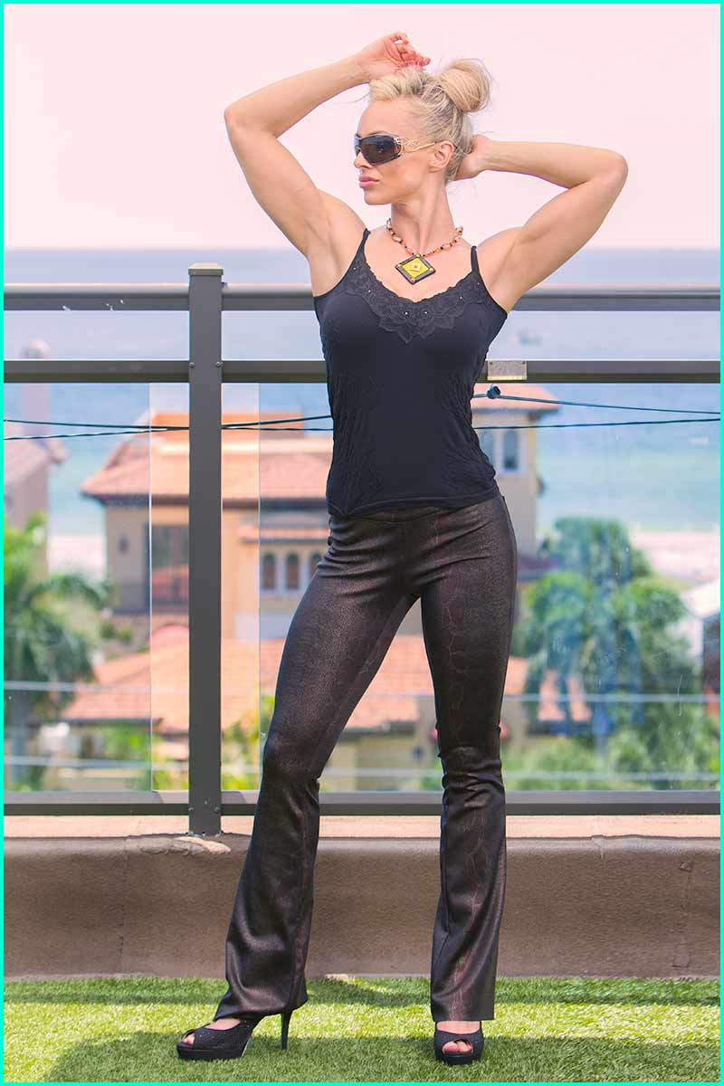 Morena Rosa Bronze Python Pant
