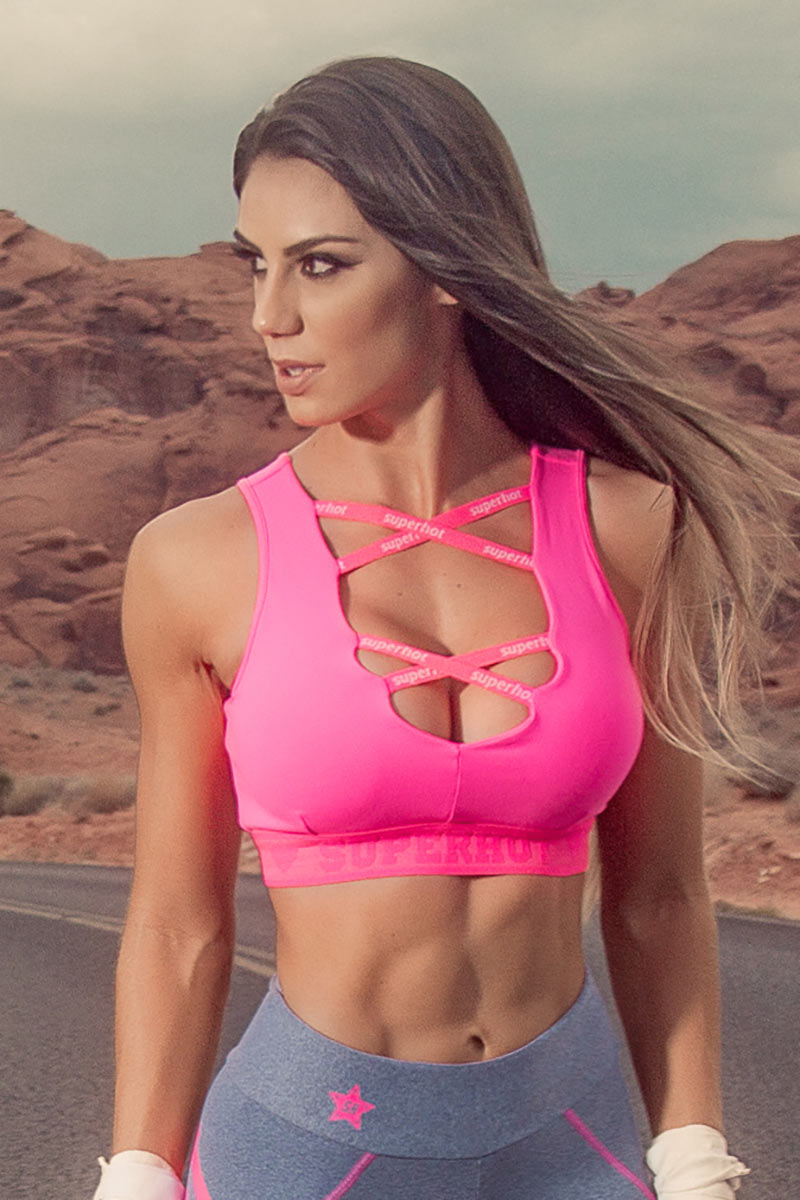 Super Hot Pink Double X Bra
